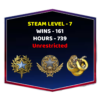 2 Medals CSGO Smurf Account With Steam Level 7